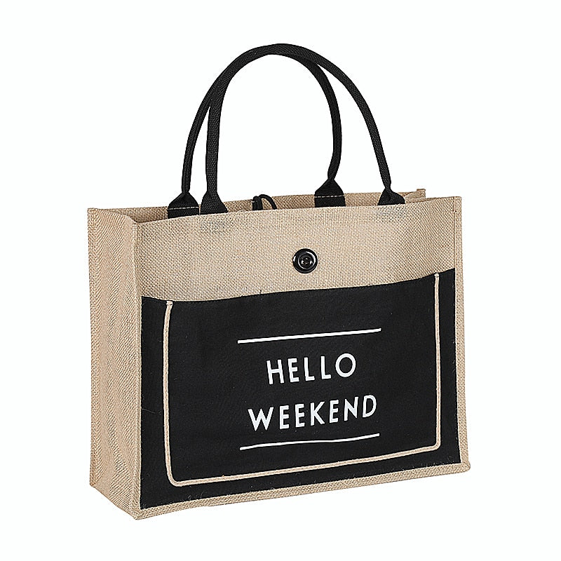 """Hello Weekend"" High Quality Women Linen Luxury Tote Large Capacity Lady Daily Handbag Fresh Beach Shopping Bag"