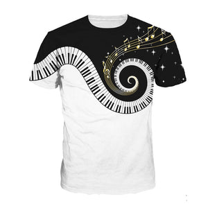 Men Funny Piano Music 3d Print Tops Hip Hop Tee Short