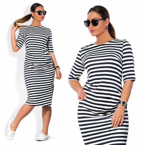 Spring Summer Dress Plus Size Dress White Black Striped Dresses