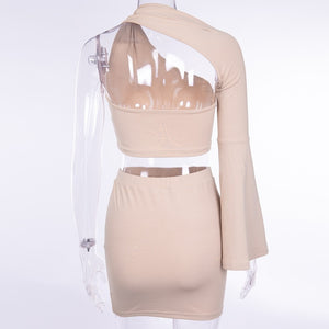 """Party ready"" crop tops skirts 2 pieces set  women fashion solid sexy"