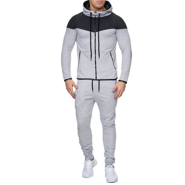 Mens Track Suit Casual 2 Piece Set Fashion Color Block Hooded