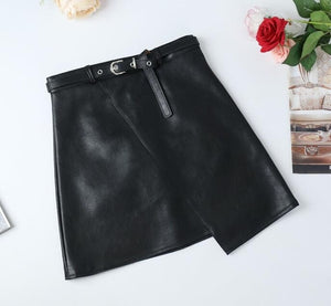 Cutie Pie 2019 Women PU Leather Skirt Belt High Waist