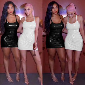 """Sexy club wear"" PU Leather Sexy Bodycon  Club Wear 2019 Dress"