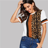 White Color Block Cut-and-Sew Leopard Panel Top Short Sleeve