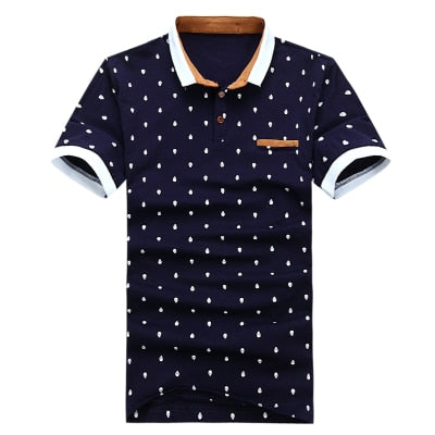 """MIKE"" New Polo shirt Men 95% Cotton  Shirt Short-sleeve Fashion Skull Dots Print  Tops Tees T437"