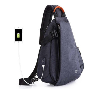 Manny Multifunction Fashion Men USB Charging Chest Pack Short Trip Messengers Bag Water Repellent Shoulder Bag