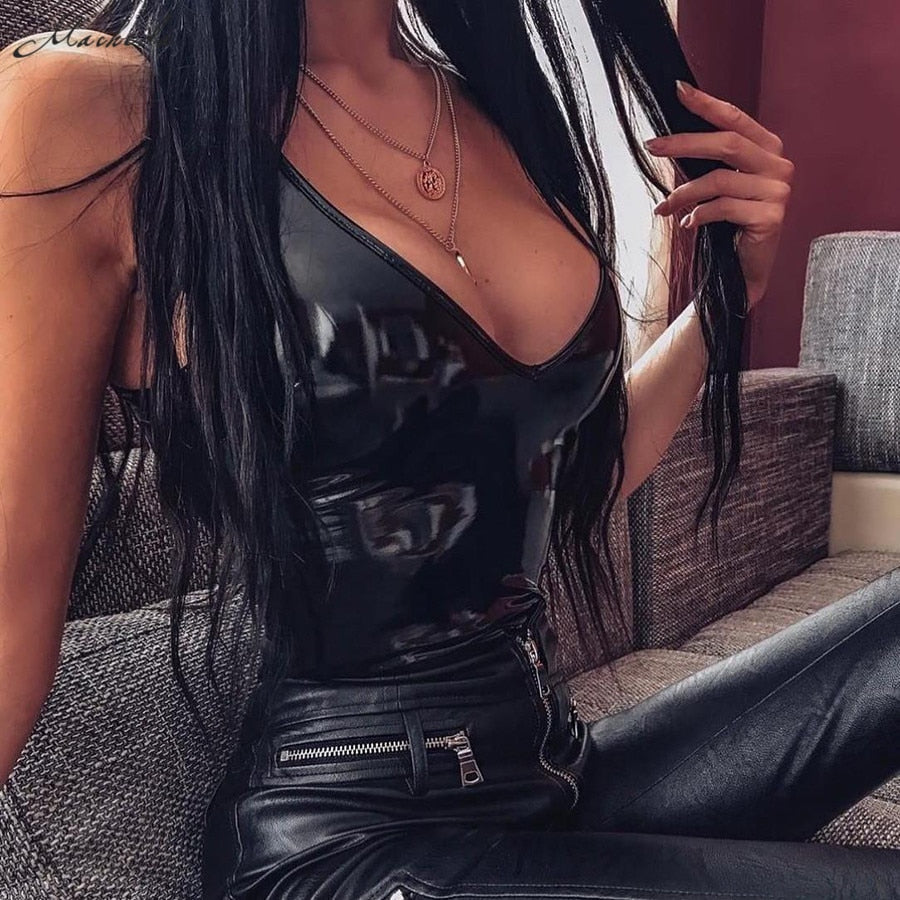 Leather Sexy V-neck Bodysuit Women Skinny Summer