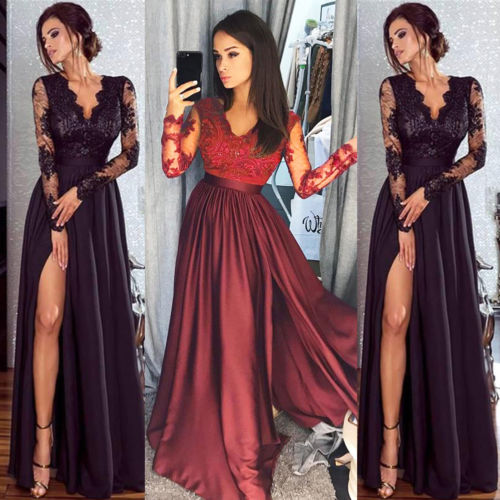2019 Women Lace Evening Party Ball Prom Gown