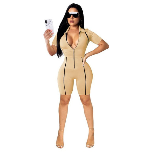 Sexy Playsuit Womens Overalls Sleeve Jumpsuit Front Zipper Fitness