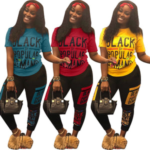 """Black is Beautiful"" ""Black by Popular Demand"" Tracksuit 2 Piece Outfits Casual T Shirt + Joggers  Pants Plus Size"