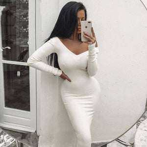 """Just My Type""Ribbed Winter White Dress Party Bodycon Dress Women Elegant Long Dress Midi Skinny Sexy Dresses Club Wear Vestido"