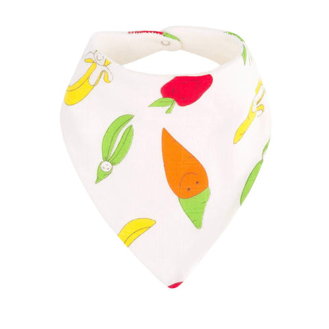 Under the Nile Bandana Dribble Bib - Fruit and Veggie Print - New Baby New Paltz