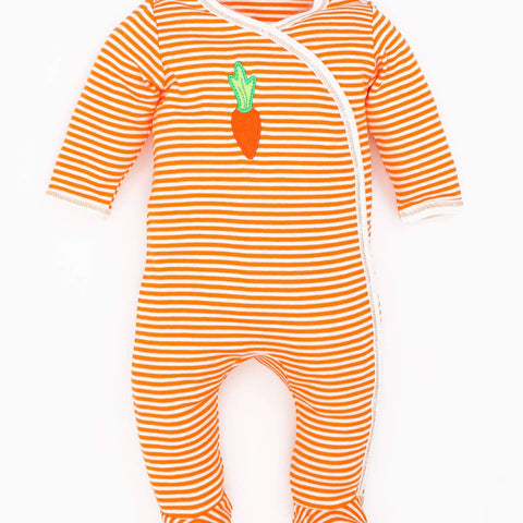Under The Nile Carrot Stripe Side Snap Footie - New Baby New Paltz