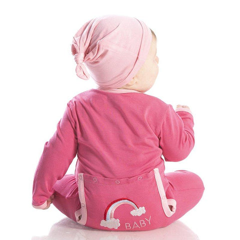 Kickee Pants Holiday Applique Coverall in Flamingo Rainbow Baby