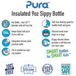 Pura Insulated Stainless Steel Sippy Bottle 9 oz - New Baby New Paltz