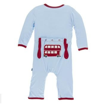Kickee Pants Applique Coverall w/zipper in Double Decker Bus