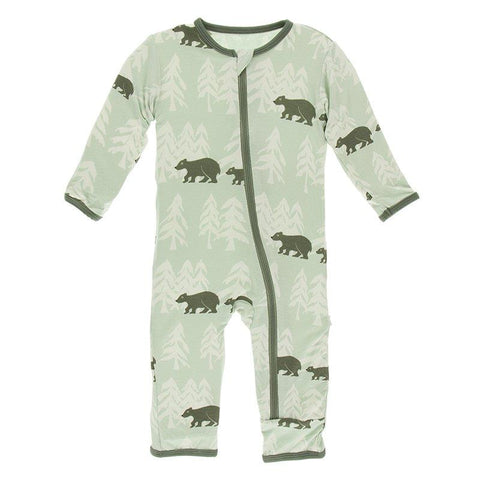 Kickee Pants Print Coverall with Zipper in Aloe Bears and Tree Line