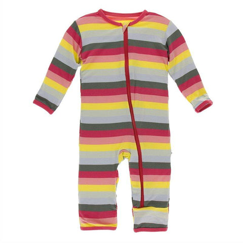 Kickee Pants Print Coverall with Zipper in Biology Stripe