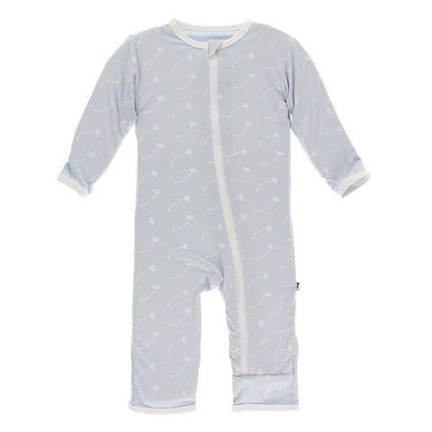 Kickee Pants Print Coverall with Zipper in Dew Dandelion Seeds - New Baby New Paltz
