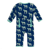 Print Coverall with Zipper in Flag Blue Unicorns 0-3 Months - New Baby New Paltz