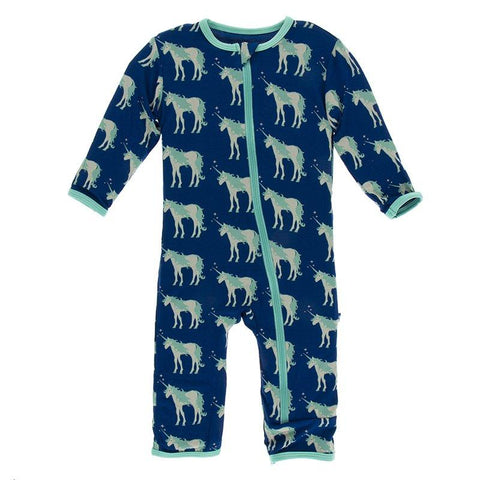 Print Coverall with Zipper in Flag Blue Unicorns 0-3 Months