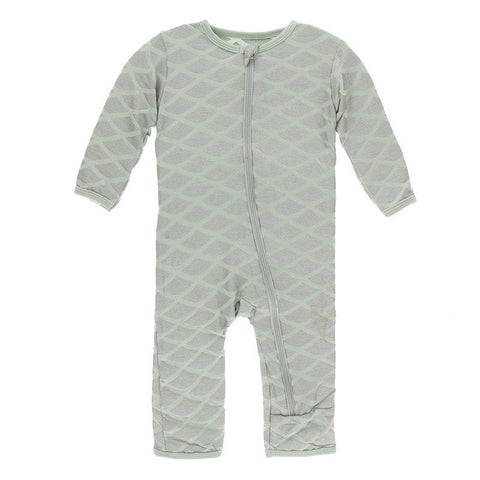 Kickee Pants Print Coverall with Zipper in Iridescent Mermaid Scales - New Baby New Paltz