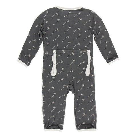 Print Coverall with Zipper in Stone Dandelion Seeds (0-3 Months) - New Baby New Paltz