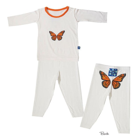 Kickee Pants Print Long Sleeve Pajama in Natural with Monarch Butterfly