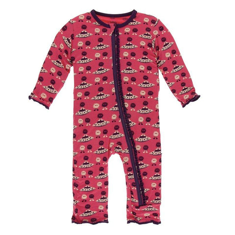Kickee Pants Print Muffin Ruffle Coverall with Zipper in Red Ginger Aliens with Flying Saucers