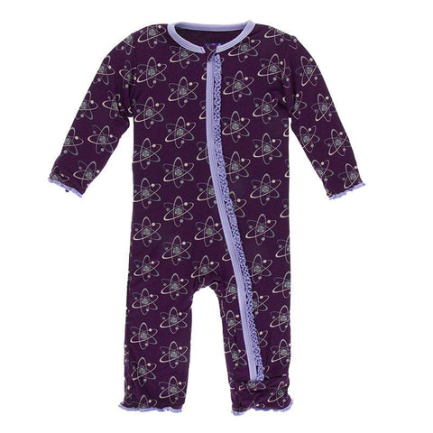 Kickee Pants Print Muffin Ruffle Coverall with Zipper in Wine Grapes Atoms
