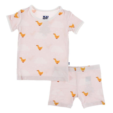 Kickee Pants Print Short Sleeve Pajama Set with Shorts in Macaroon Puddle Duck - New Baby New Paltz