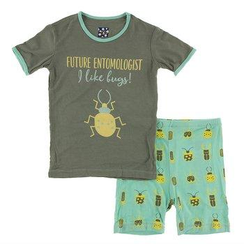 Piece Print Short Sleeve Pajama Set with Shorts in Glass Beetles (18-24 Months)