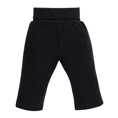 Under The Nile Baby Yoga Fold-over Waist Pant - Black Organic Cotton
