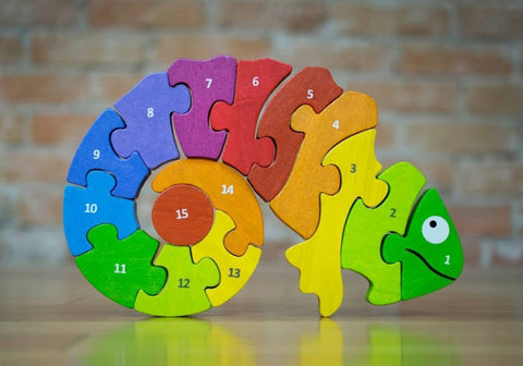 BeginAgain Counting Chameleon Bilingual Puzzle - New Baby New Paltz