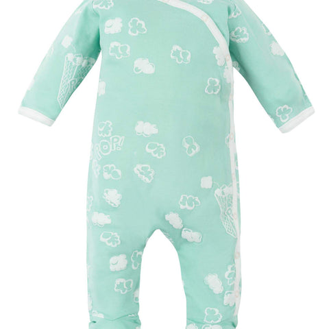 Under The Nile Side Snap Footie - Organic Cotton Popcorn Print - New Baby New Paltz