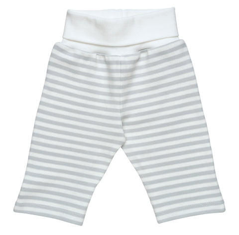 Under The Nile Baby Yoga Fold-over Waist Pant - Organic Cotton Grey Stripe