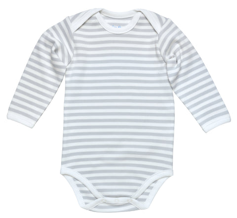 Under The Nile Long Sleeve Lap Shoulder Bodysuit - Organic Cotton Grey Stripe