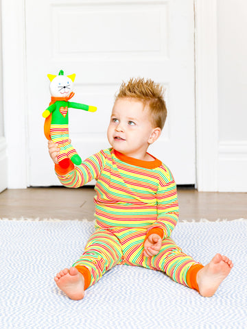 Under The Nile Babies and Toddler Long Johns - Organic Cotton Multicolor Veggie Stripe