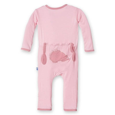Kickee Pants Applique Coverall Lotus Porcupine Snaps - New Baby New Paltz