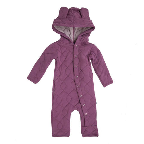 Kickee Pants Quilted Hoodie Coverall with Ears Scarlet Newborn - New Baby New Paltz