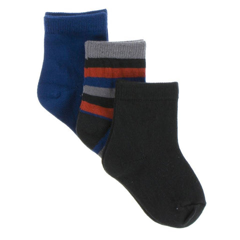 Kickee Pants Socks Navy, Dark London Stripe and Zebra - New Baby New Paltz