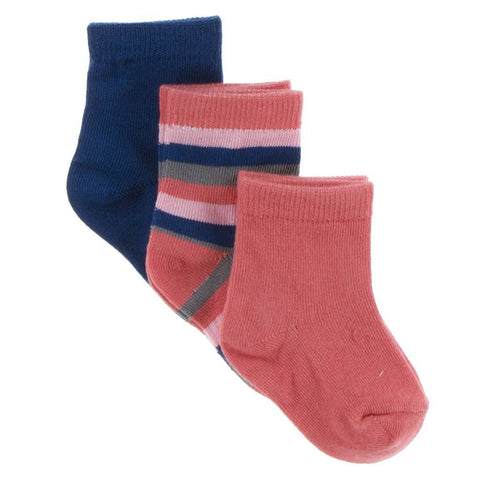 Kickee Pants Socks Navy, Bright London Stripe and English Rose - New Baby New Paltz