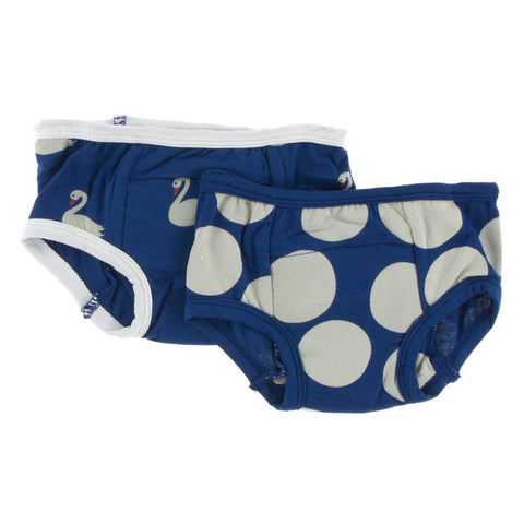 Kickee Pants Training Pants Set in Navy Queen's Swans & Navy Mod Dot