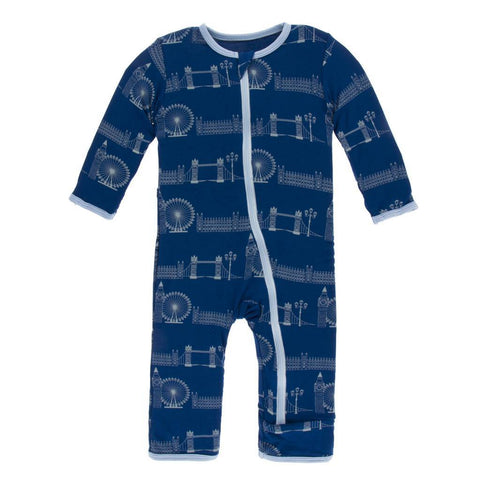 Kickee Pants Print Coverall w/zipper in London Cityscape - New Baby New Paltz