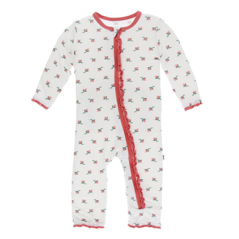 Kickee Pants Print Classic Ruffle Coverall w/zipper in Natural Rosebud - New Baby New Paltz