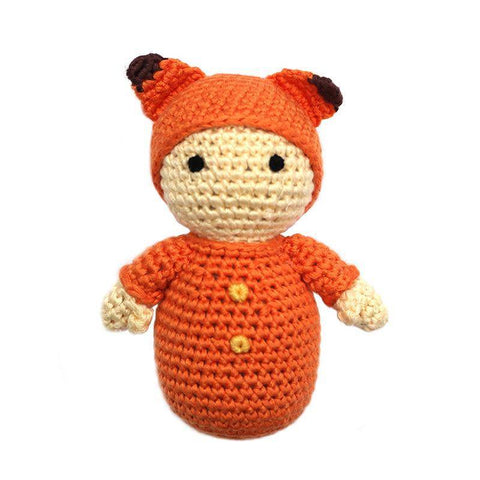 Cheengoo Baby with Fox Hat Crocheted Rattle - New Baby New Paltz