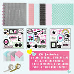 40 PAGES, ONE IMAGINATION, ENDLESS POSSIBILITY - Our Design Your Own Scrapbook Kit comes with everything you need to create a cute and modern keepsake; including a 1 hardcover blank journal, 2 trendy washi tape rolls, 3 sticker sheets, 4 mini envelopes and 5 patterned papers. Design, create & cherish a uniquely YOU scrapbook!