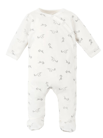 Under The Nile Long Sleeve Side Snap Footie - Stork Print