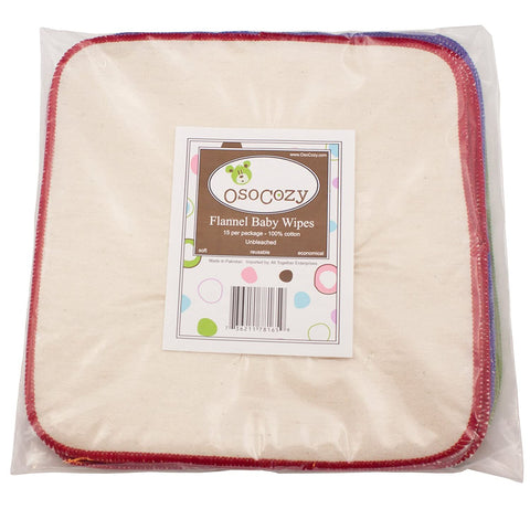 OsoCozy Flannel Baby Wipes - Reusable And Washable - 15 Pack (Unbleached) - New Baby New Paltz