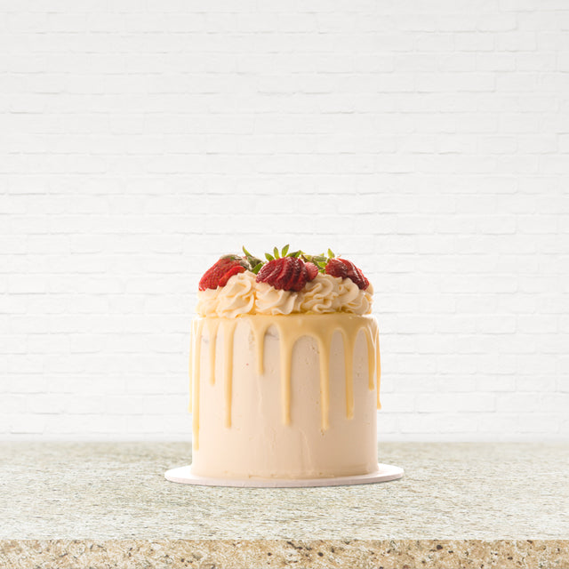 8 Inch Gourmet White Chocolate & Strawberry Drip Cake